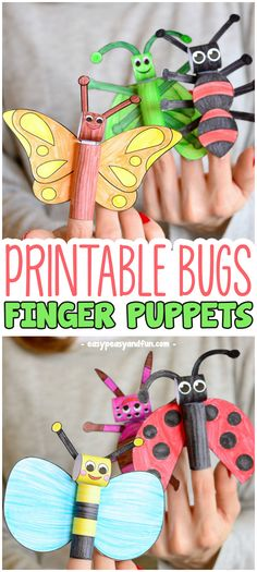 Printable Bugs Finger Puppets Paper Craft for Kids kampagne Printable Bugs Finger Puppets - Easy Peasy and Fun Spring Crafts For Kids, Paper Crafts For Kids, Craft Activities For Kids, Summer Crafts, Preschool Crafts, Projects For Kids, Diy For Kids, Craft Ideas, Insect Activities