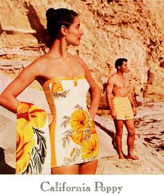 Catalina's lovely California Poppy swimsuit, 1946. Now here's a swimsuit I wouldn't cringe at wearing!