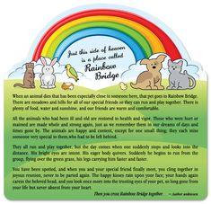 The Rainbow Bridge - Grab a Kleenex! Natalie Morales (The Today Show) recommended this poem for helping your child deal with a loss of a beloved pet