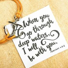 """Wear your anchor bracelets as a reminder of this quote """"When you go through deep waters I will be with you"""". Have a blessed Sunday!   #soulsparks #etsy #bracelet #jewelry #shoplocal #bestseller #handmade #crafttime #shopsmall#bff #giftforbestfriend #loveit #inspirational #inspire #quotes #isaiah #anchor #yellow #faith #trust"""
