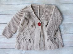 Baby Girls Clothes Hand Knitted Beige Cotton Sweater Size 2T Toddler Girls Cardigan Jacket