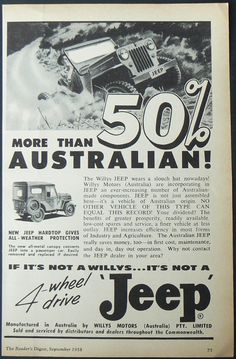 Australian Jeep advertisement with CJ-3B