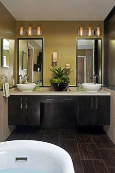 Photos Of Transitional Bathroom Design Wall mounted vanities with concrete counter tops and vessel bowl sinks