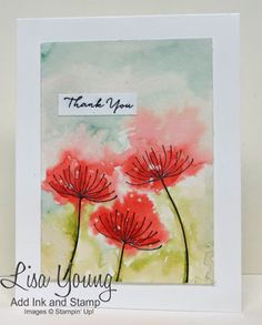 Stampin' Up! Summer Silhouettes stamp set. Watercolored flowers on watercolor paper and a white base. Handmade watercolored card by Lisa Young, Add Ink and Stamp