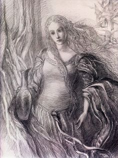 Galadriel. By Alan Lee. Cool fact: she was roughly 16,000 years old when Frodo meet her.