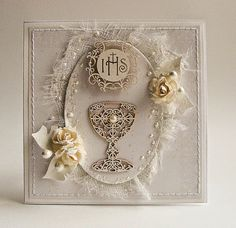 Dorota_mk: Pierwsza Komunia Święta Confirmation Cards, Baptism Cards, First Communion Cards, Diy Scrapbook, Scrapbooking, Communion Invitations, Unique Cards, Diy Projects To Try, Vintage Cards