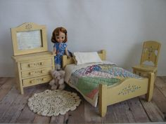Vintage 40s Bedroom Set For Small Dolls or Bears by TheToyBox