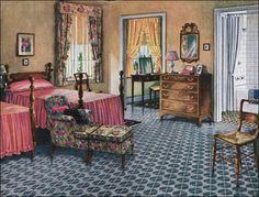 1926 Blabon Bedroom Design - 1920s Design Inspiration