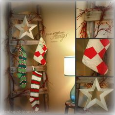 don't have a mantel cute way to display stockings. May do this even though I have a mantel. Really cute!!!