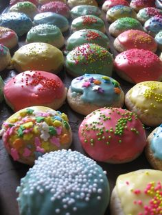These were my favorite cookies when I was a kid. Straight out of Mom's 1981 Betty Crocker Cookie book. We called them Color Cookies :)
