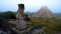 The Maya temple of Kukulkan, the feathered serpent and Mayan snake deity, at the archaeological site of Chichen Itza.