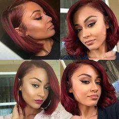 Dark Red Velvet - 50 Shades of Burgundy Hair Color: Dark, Maroon, Red Wine, Red Violet - The Trending Hairstyle Weave Hairstyles, Girl Hairstyles, Party Hairstyles, Curly Hair Styles, Natural Hair Styles, Relaxed Hair, Hair Dos, Hair Hacks, Short Hair Cuts