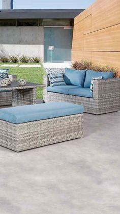 Perfect Loungeset mit blauen Polstern Gartensofa Best Curacao Loungeset teilig Mehr Geflechtm bel