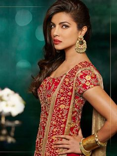 Red with Golden Priyanka Chopra Anarkali Suit with Embroidery   #AnarkaliSuit #IndianEthnicwear #PunjabiSuit # Anarkali