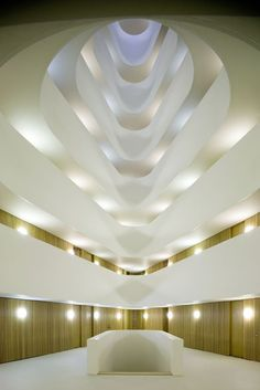 View up into the void at the heart of the Eekenhof apartments by Dutch architects Claus en Kaan.