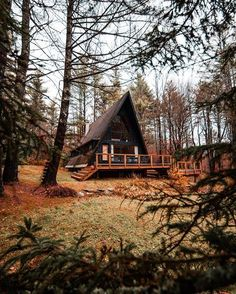 Are A-frame Cabin Kits Worth it? Forest Cabin, Forest House, A Frame Cabin, A Frame House, Cabin In The Woods, Lakefront Property, Cabin Kits, Cozy Cabin, Cabins And Cottages