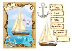 Nautical birthday card by Julie Hassall A lovely card front with a sea scene inside a nautical frame. There are cutouts  to mount over the yacht and anchor and a choice of relative plaques. This design fits an A5 card or can be resized to your  requirements. I hope you enjoy making it.
