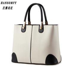 76f7267f1d HNSF 100% Genuine leather Women handbags 2017 New bag lady in black and  white ladies fashion handbags Shoulder Messenger Handbag