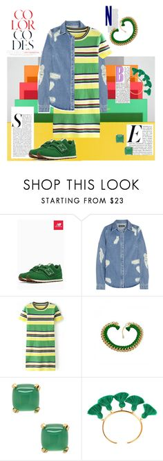 """""""Striped T-shirt Dress"""" by hope-houston on Polyvore featuring New Balance, House of Holland, Eye Candy and Marte Frisnes"""