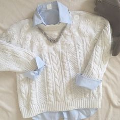 BOGO50% Chunky cable off white sweater Off white chunky cable sweater 3/4 sleeve. Sweaters Crew & Scoop Necks