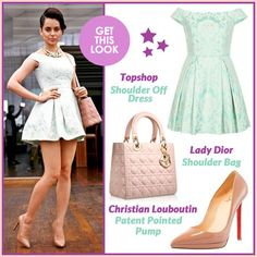 GET THE LOOK: at the launch of her website http://www.officialkanganaranaut.com/ Actor Kangana Ranaut in pale colour palette: a short mint green Topshop off-shoulders dress, blush coloured patent pumps from Christian Louboutin, a Lady Dior Shoulder Bag