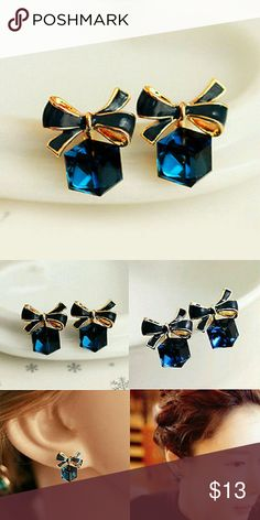 Box Crystal Earrings Cute and posh bow knot earrings with blue crystals. Jewelry Earrings