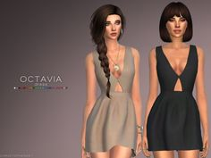 This is a deep v-neck mini dress with an opening detail at bust. Found in TSR Category 'Sims 4 Female Everyday'