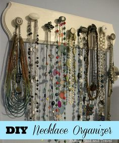 DIY Necklace Organizer - made with a wooden board, paint and a variety of drawer pulls. A great weekend project. #organization #craft #DIY