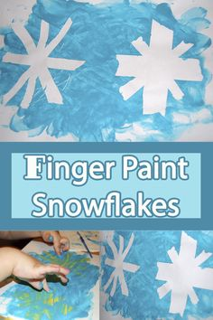 Fingerpaint Snowflakes using painters tape and finger paint. Super easy and super fun! They came out really cute too!