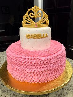 Pink buttercream ruffles with princess crown birthday cake