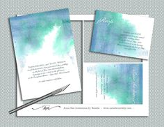 DIY- Watercolor Wedding Invitation Suite, printable