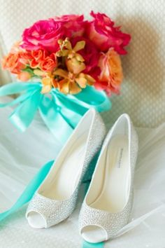 sparkle wedding shoes and vibrant bridal bouquet from Virginia Wedding Salamander Resort by Katelyn James Photography