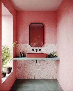 Terrazzo design is trending as one of the hottest interior design you'll be seeing everywhere. From terrazzo floor tiles, tables and lampshades to printed wallpaper, it's out there. Bathroom Interior Design, Home Interior, Decor Interior Design, Interior Architecture, Modern Interior, Design Interiors, Showroom Design, Scandinavian Interior, Luxury Interior