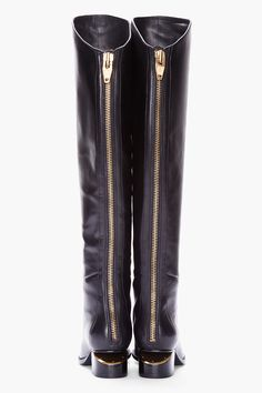 ALEXANDER WANG Knee High Black Leather Sigrid Boots