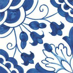 Miradouro Portuguese Ceramic Field Tiles - CAMELIAS BLUE