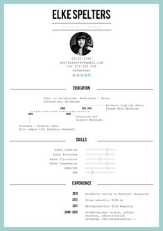 Resume by Elke Spelters, via Behance