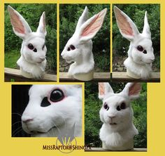 White Rabbit mask by MissRaptor on DeviantArt Fursuit Head, Fursuit Tutorial, Bunny Mask, Adornos Halloween, Bunny Costume, Animal Masks, Anthro Furry, Diy Costumes, Carnival