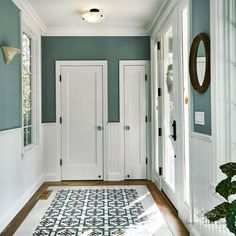 Laundry Room Colors, Dining Room Paint Colors, Bedroom Paint Colors, Benjamin Moore Colors, Benjamin Moore Paint, Teal Paint Colors, Entryway Paint, Teal Rooms, Hallway Colours