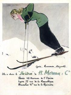 Moreau & Cie (Textile) 1947 Pierre Mourgue Skiing