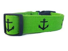 Lime Green Dog Collar Anchors on Lime by BigpawCollars on Etsy
