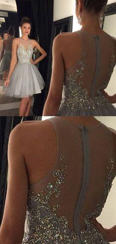 Short Prom Dresses,Grey Prom Dresses,Beading Prom Dresses,Prom Dresses 2017,Homecoming Dresses 2017