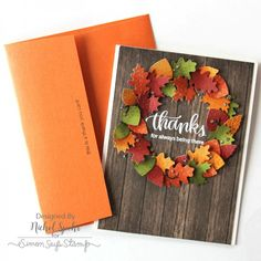 SSS November Card Kit 2016; SSS Thankful Heart; woodgrain; fall theme; leaves; leaf die; red orange gold brown olive