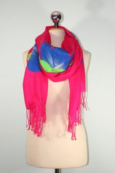 Felted PASHMINA Scarf Pink whit Navy Blue Flowers by Filtil, $53.00
