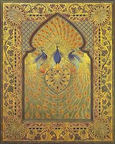 I know this is a book cover but this would make an awesome throw. Book Cover - Rubaiyat of Omar Khayyam - Persian peacocks Vintage Book Covers, Vintage Books, Vintage World Maps, Medieval Manuscript, Illuminated Manuscript, Cover Art, Rubaiyat Of Omar Khayyam, Oriental, Illustration Art Nouveau