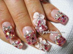 Pink Stars acrylic Nail Art