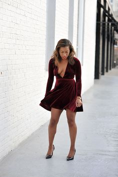 Holiday party outfit ox blood velvet american apparel dress