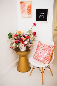 Before & After: A Drab Studio Becomes A Fresh Backdrop for Vibrant Floral Artwork – Design*Sponge Deco Rose, Floral Chair, Floral Artwork, Acrylic Painting Techniques, Barbie Dream House, Painting Studio, Cutting Tables, Large Painting, Artwork Design