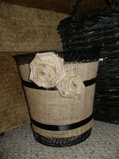 Monkey Inspirations: Burlap rosettes Dollar Tree Wastebasket
