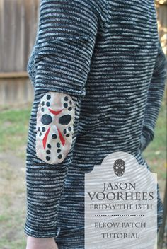 DIY Jason Voorhees elbow patch. This would be cute on an all black shirt
