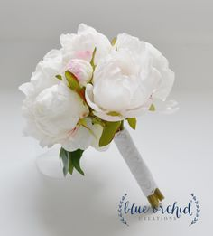 Small White Peony Bouquet - Peony Bouquet in Cream, White, Peonies, Silk Bouquet, Wedding Bouquet, Bridesmaid Bouquet by blueorchidcreations on Etsy